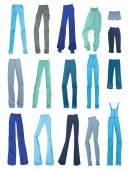Set of women's jeans — Stock Vector
