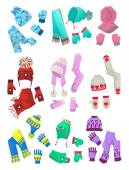 Hats, scarves and mittens for little girls — Stock Vector
