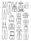 Set of women's casual clothing — Stock Vector
