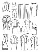 The contours of women's clothing — 图库矢量图片