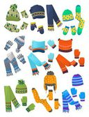 Hats, scarves and mittens for little boys — Stock Vector