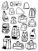 Contours of backpacks and bags — Stock vektor