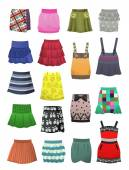 Children's skirts and sundresses — Vector de stock