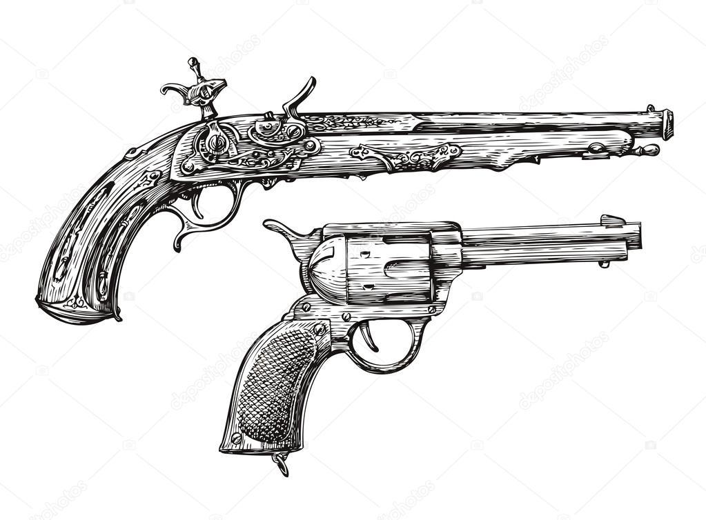 Vintage Gun. Retro Pistol, Musket. Hand-drawn Sketch Of A
