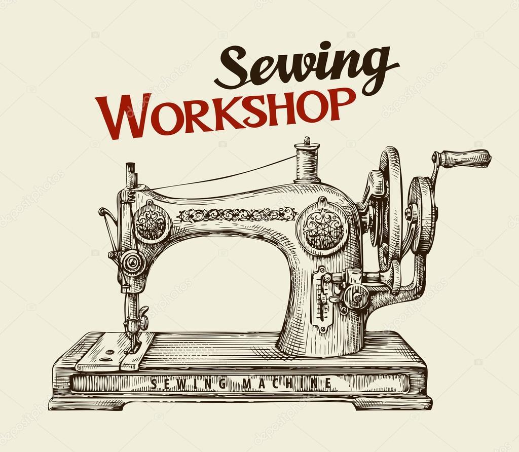 Näherei Werkstatt oder Schneider Hand gezeichnet Vintage Nähmaschine Vektor -> Nähmaschine Blockiert