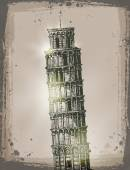 Leaning Tower of Pisa. Vector format — Stok Vektör