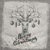 Merry Christmas. Deer and Christmas toys — Stock Vector