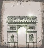 Arch of Triumph, Paris. Hand drawn vector illustration — Stock Vector