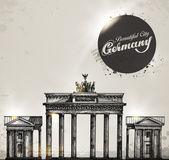 Brandenburg gate. Berlin arch symbol. Hand drawn pencil sketch vector illustration — Stock Vector