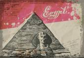 Pyramids in the desert. Hand drawn pencil sketch vector illustration — ストックベクタ