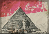 Pyramids in the desert. Hand drawn pencil sketch vector illustration — Wektor stockowy