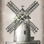 Windmill building in retro style. Hand Drawn Illustration — Stock Vector #57394201