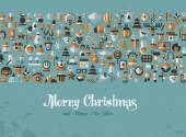 Merry Christmas. Greeting card. icons — Vecteur