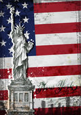Statue of Liberty. United States flag — Wektor stockowy