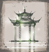 Temple. Hand drawn sketch vector illustration — Stock Vector