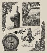 Hand drawn vector wine set — Stock Vector