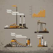 Industrial building factory and power plants icon set — Stock Vector