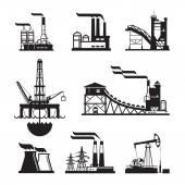 Vector iconos fábrica negro en gris — Vector de stock