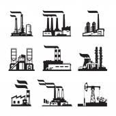 Industrial buildings, nuclear plants and factories — Stock Vector