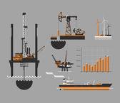 Olja och petroleumprodukter ikonuppsättning — Stockvektor