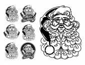 Santa Claus hand drawn vector llustration. sketch — Stock Vector