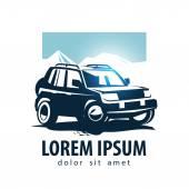 Car vector logo design template. SUV or  transport icon. — Stok Vektör