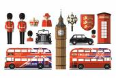 England, London, UK. Set icons — Stock Vector