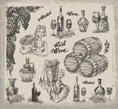 Wine. A collection of sketches on wine making — Stock Vector