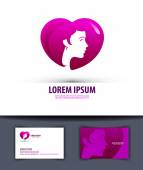 Heart and girl. Logo, icon, emblem, template, business card — Stock Vector