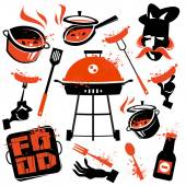 BBQ vector logo design template. cooking or kitchen icon. — Stock Vector