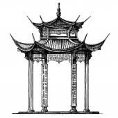 Asia, Korea, Japan, China. religious architecture on a white background — Stock Photo
