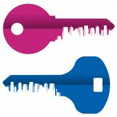 Abstraction. Colored keys and the city on a white background — Stock Photo
