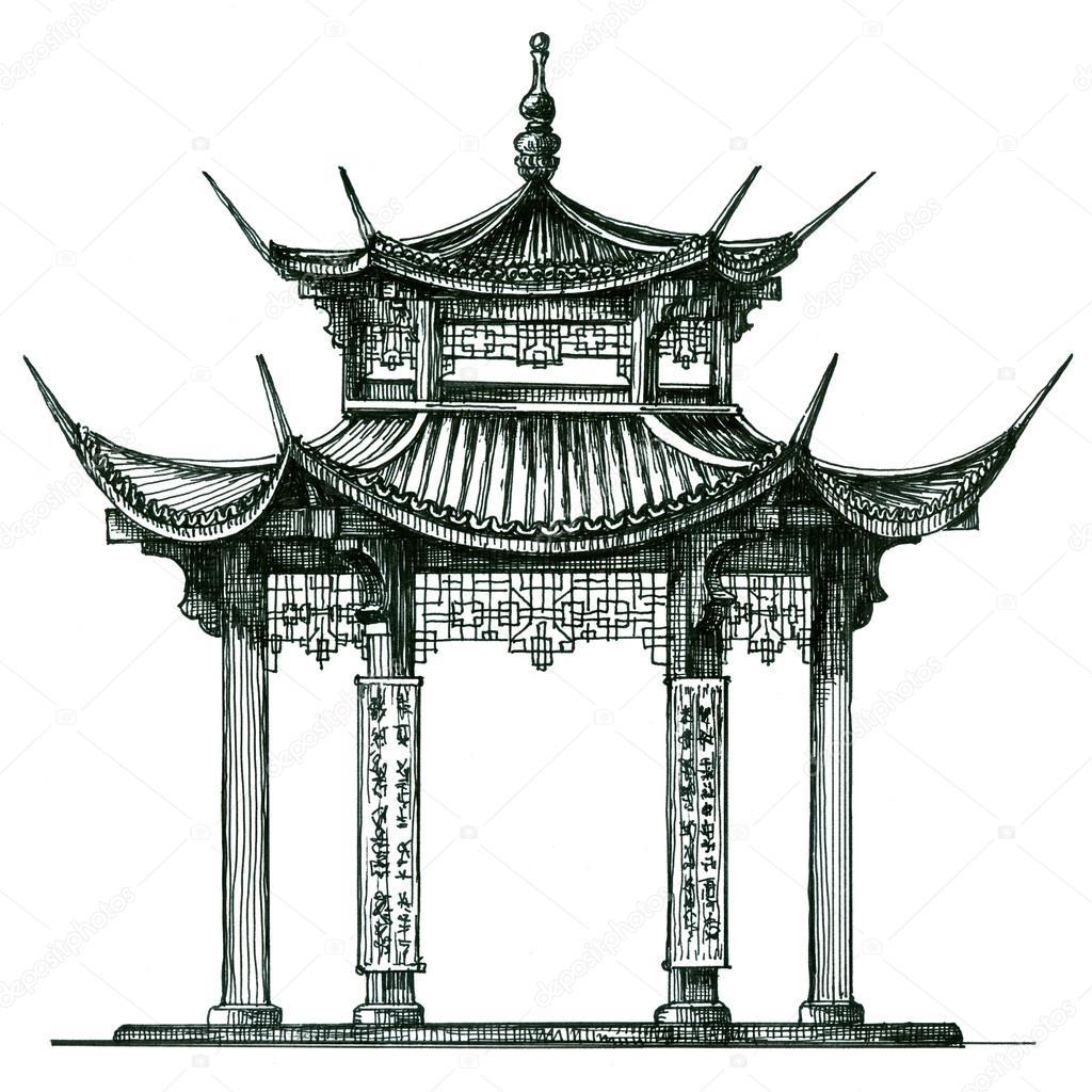... Эскиз — Стоковое фото © sergeypykhonin #66048161: ru.depositphotos.com/66048161/stock-photo-asia-temple-on-a-white.html