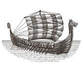 Retro ship vector logo design template. boat or drakary icon. — Stock vektor