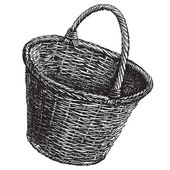 Wicker basket vector logo design template.  handicraft or traditional craftsmanship icon. — Stock Vector