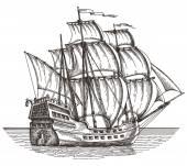Ship vector logo design template. sailboat or frigate icon. — Stock vektor