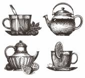 Tea party vector logo design template. drink or food icon. — Stock Vector