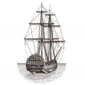 Ship vector logo design template. frigate or journey icon. — Stock vektor