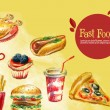 Постер, плакат: Fast food logo design template