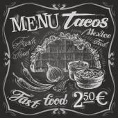 Meksykańskie jedzenie: tacos, burritos — Wektor stockowy