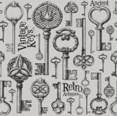 Vintage keys logo design template — Stock Vector