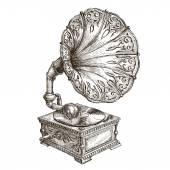Gramophone vector logo design template. music or vinyl record, nostalgia icon. — Stock Vector