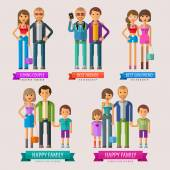 People vector logo design template. happy family or friends, loving couples icon. — Stock Vector