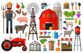 Farm in village vector logo design template. harvest, gardening, horticulture or animals, food icon. — Stock Vector
