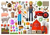Farm, farmhouse, farmyard vector logo design template. harvest, gardening, horticulture or animals, food icon. — Stock Vector