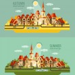 Farm in the village. Set of elements - house, village, city, pond, birds, street, road, summer, autumn, bench, trees — Stock Vector #75849001