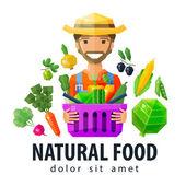 Modelo de design de logotipo de vetor alimentos frescos. ícone de vegetais e frutas, jardinagem, horticultura, fazenda ou fazendeiro, horticultor. ilustração plana — Vetor de Stock