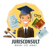 Lawyer, attorney vector logo design template. jurist, legal expert, solicitor or jurisconsult icon. flat illustration — Stock Vector