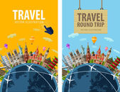 Travel, journey, trip vector logo design template. vacation or countries of the world icon. — Stock Vector