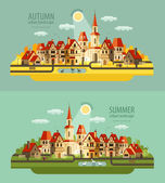 Farm in the village. Set of elements - house, village, city, pond, birds, street, road, summer, autumn, bench, trees — Stock Vector